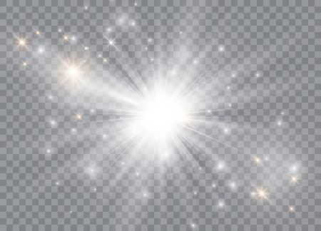 Glow light effect. Star burst with sparkles. Sun. Vector illustration
