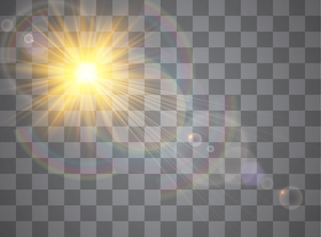 Light flare special effect with rays of light. Glow transparent vector light effect set, explosion, glitter, spark, sun flash.
