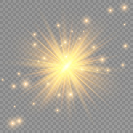 Glow transparent vector light effect set, explosion, glitter, spark, sun flash. Ilustração