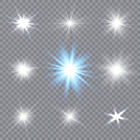 Glowing light explodes on a transparent background. Sparkling magical dust particles. Bright Star. Vector illustration. Stock Illustratie