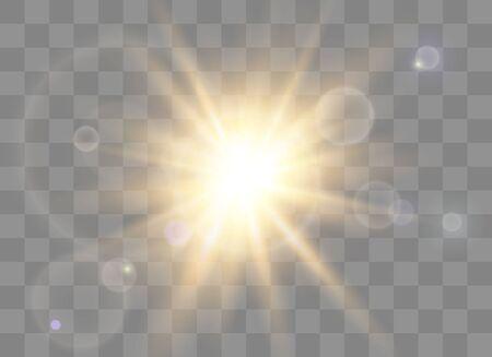 Glow light effect, explosion, glitter, spark, sun flash. Vector illustration. Ilustração