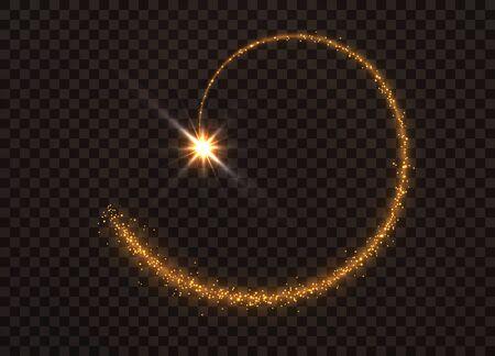 Die Staubfunken und goldenen Sterne leuchten in besonderem Licht. Vektor funkelt auf einem transparenten Hintergrund. Funkelnde magische Staubpartikel.