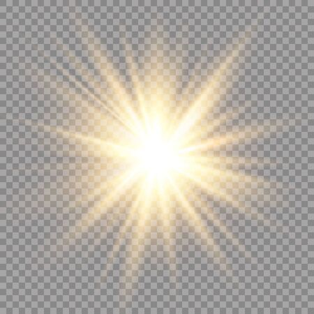 Glow light effect. Star burst with sparkles. Sun. Vector illustration.