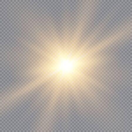 Glow light effect, explosion, glitter, spark, sun flash. Vector illustration. Vector Illustration