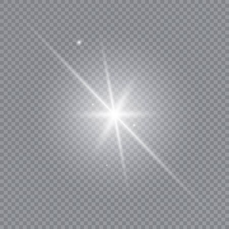 Glow light effect. White glowing light burst explosion with transparent. Sun. Vector illustration.