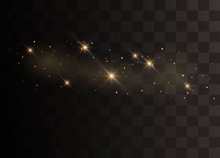 Glittering particles of fairy dust. Sparks glitter special light effect. Vector glitters on a black background.