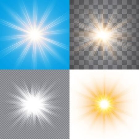 Glow light effect, explosion, glitter, spark. Set: a flash of sun on a transparent, white, blue background.  Vector illustration.