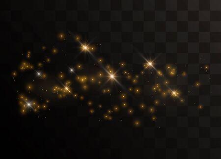Brillantes partículas de oro de polvo de hadas. Efecto de luz especial de brillo de chispas. Vector brilla sobre un fondo negro. Ilustración de vector