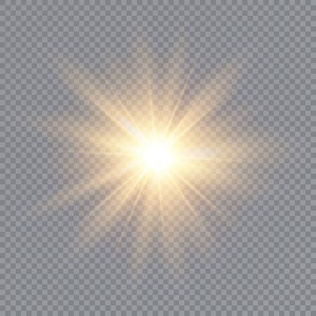 Glow light effect. Star burst with sparkles. Sun. Vector illustration.