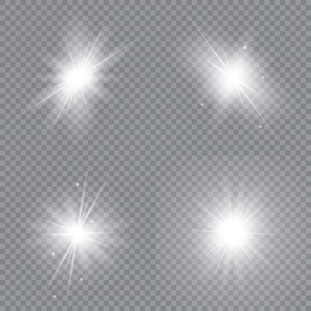 Set of bright stars. Glowing light explodes on a transparent background. Sparkling magical dust particles. Vector illustration.  イラスト・ベクター素材