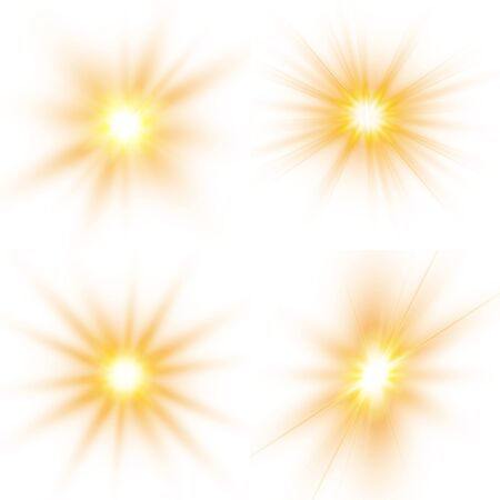 Set of bright stars. Sunlight translucent special design light effect on a white background. Vector illustration.  イラスト・ベクター素材