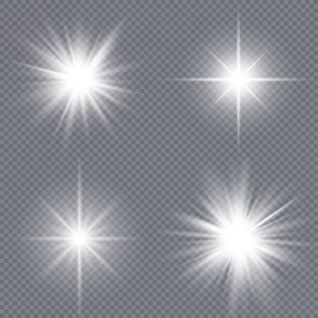 Set of bright stars. Sunlight translucent special design light effect on a white background. Vector illustration. Illustration