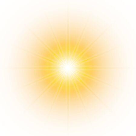 Glow light effect, explosion, glitter, spark, sun flash. Vector illustration. 向量圖像