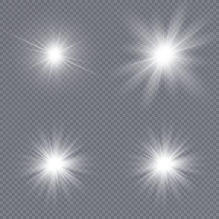 Set of bright stars. Sunlight translucent special design light effect. Vector illustration.