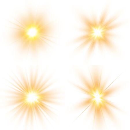 Glow light effect, explosion, glitter, spark, sun flash. Set of bright stars. Sunlight translucent special design light effect.  Vector illustration.