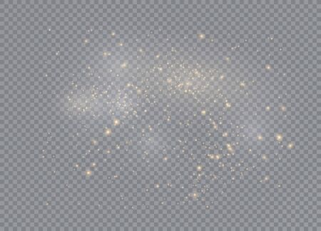 Light glow effect stars. Vector sparkles on transparent background. Christmas abstract pattern. Sparkling magic dust particles.  イラスト・ベクター素材