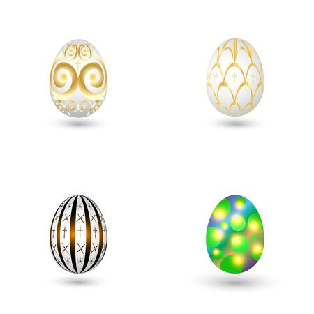 Set of Easter eggs with a pattern on a white background. Vector illustration.