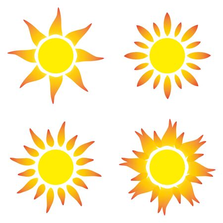 Flat sun icon. Sun pictogram. Trendy vector summer symbol.