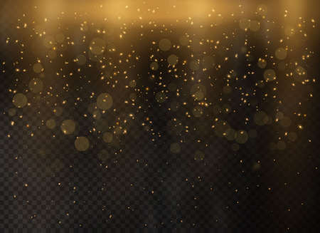 Gold abstract bokeh background dust particles. Golden stars glitter special light effect. Christmas abstract. Vector illustration.