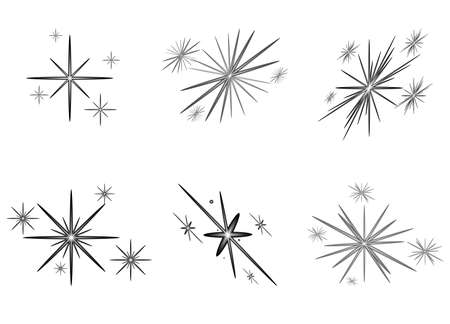 Set of bright stars for Christmas, New Year. Vector illustration.