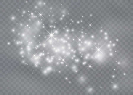 White sparks glitter special light effect. Vector sparkles on transparent background. Sparkling magic dust particles. 向量圖像