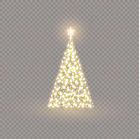 Christmas lights isolated design elements. Garlands decoration on the Christmas tree. Vector illustration. 向量圖像