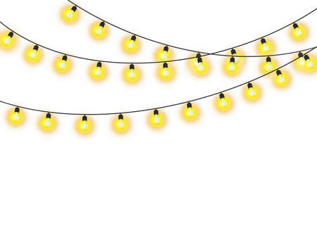 Christmas lights isolated realistic design elements. Glowing garlands. Vector illustration. 向量圖像