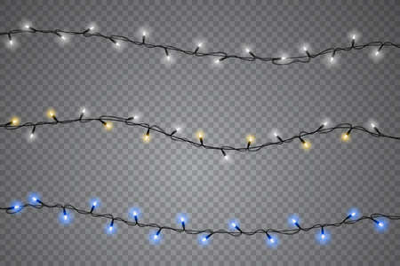 Set of christmas lights isolated realistic design elements. Glowing lights for Xmas Holiday cards, banners, posters, web design. Garlands decorations. Vector illustration.