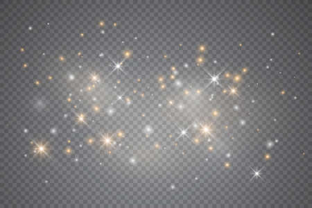 Light glow effect stars. Vector sparkles on transparent background. Christmas abstract pattern. Sparkling magic dust particles. 向量圖像