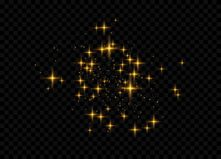 The dust sparks and golden stars shine with special light. Glittering magical dust particles. Vector illustration. 向量圖像