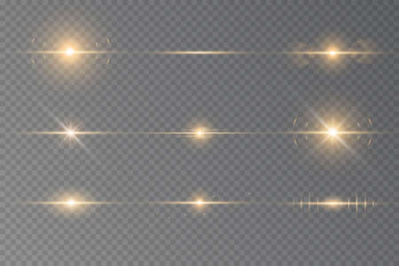 Special effect with rays of light and magic sparkles. Yellow horizontal lens flares pack. Sunlight a translucent. Design of the light effect. Vector illustration 向量圖像