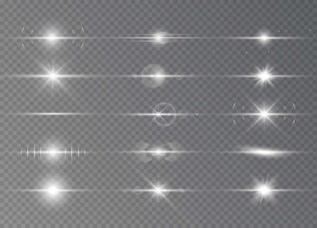 Special effect with rays of light and magic sparkles. White horizontal lens flares pack. Sunlight a translucent. Design of the light effect. Vector illustration. 向量圖像