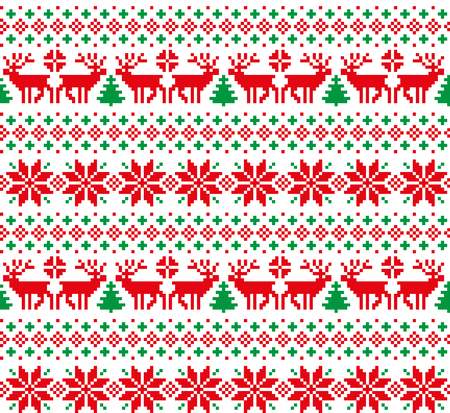 New Years Christmas pattern pixel Stock Vector - 88796164