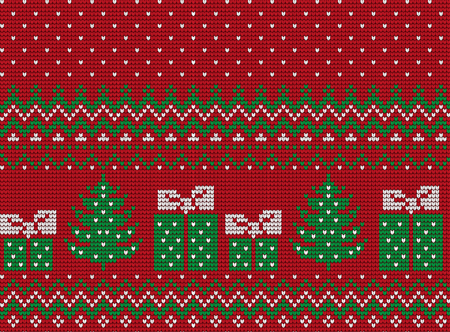 Knitted Christmas and New Year pattern Reklamní fotografie - 89717124