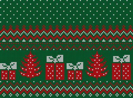 Gebreide Kerstmis en Nieuwjaar patroon Vector Illustratie