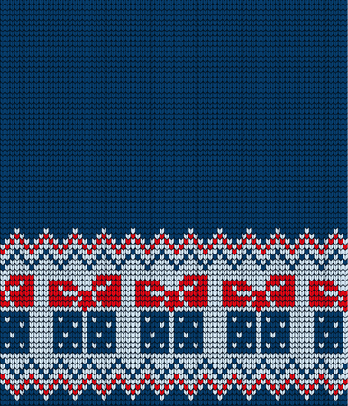 Knitted Christmas and New Year pattern for print Иллюстрация