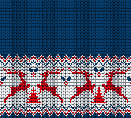 Knitted Christmas and New Year pattern for print Çizim