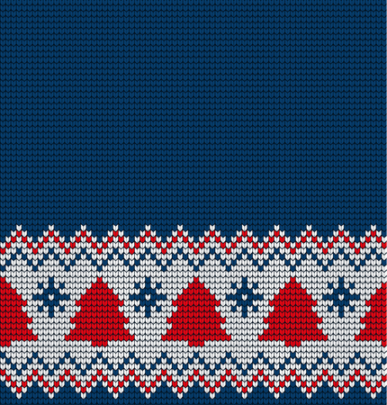 Knitted Christmas and New Year seamless pattern for print. Ilustração