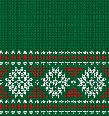 Knitted Christmas and New Year pattern for print.  イラスト・ベクター素材