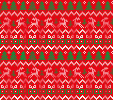 Knitted Christmas and New Year pattern for print Ilustração