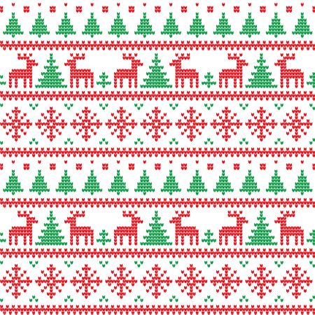 Knitted Christmas and New Year pattern for print Stock Illustratie