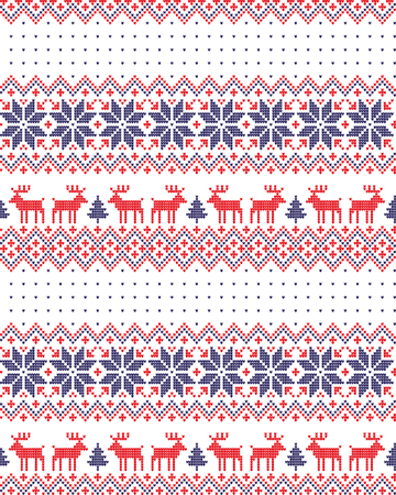 Knitted Christmas and New Year pattern for print. Vettoriali