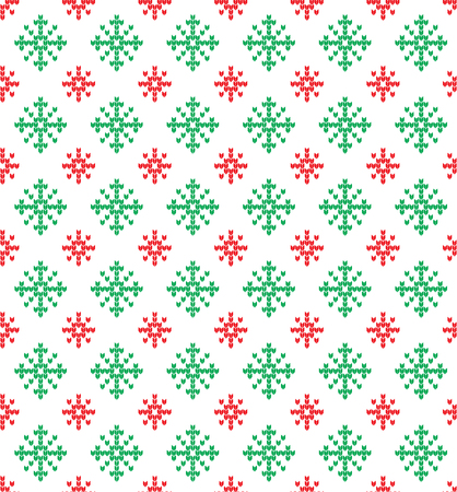 Red and green snowflakes pattern.