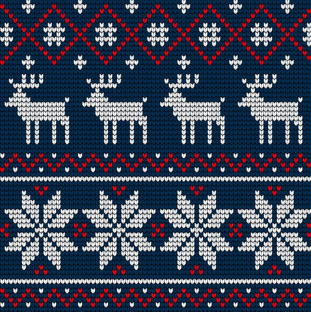 Knitted Christmas and New Year pattern for print 矢量图像