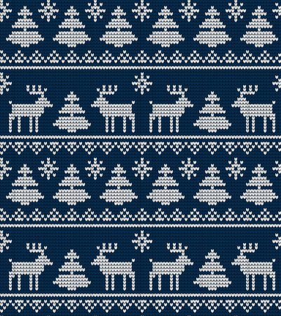 Knitted Christmas and New Year pattern for print  イラスト・ベクター素材