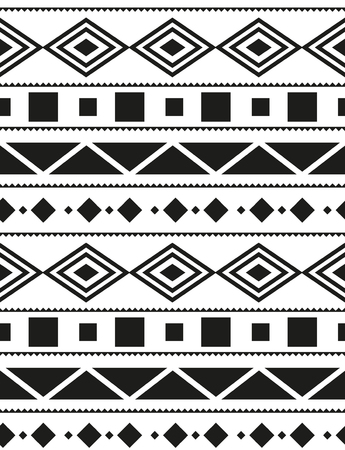 Vector seamless pattern Aztecs in black and white illustration. 向量圖像