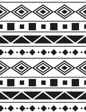 Vector seamless pattern Aztecs in black and white illustration. Illustration