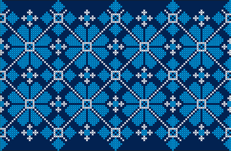 Embroidered cross-stitch ethnic Ukraine pattern vector illustration.