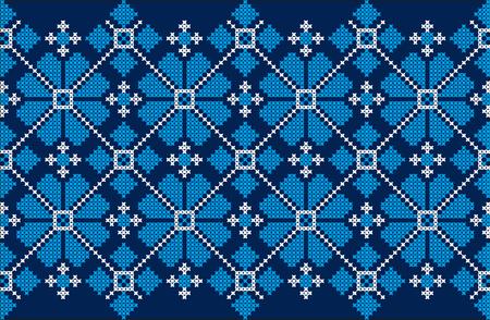 Embroidered cross-stitch ethnic Ukraine pattern vector illustration.