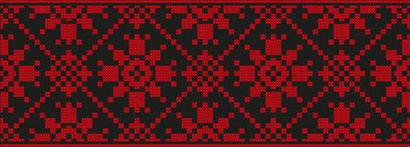 embroidered cross-stitch ethnic Ukraine pattern vector EPS 일러스트